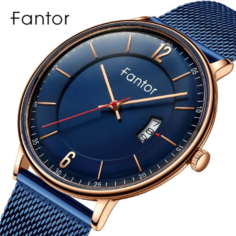 Fantor Watches Men Top Luxury Brand Quartz Wristwatch Men's Casual Waterproof Date Mesh Steel Watches Relogio Masculino
