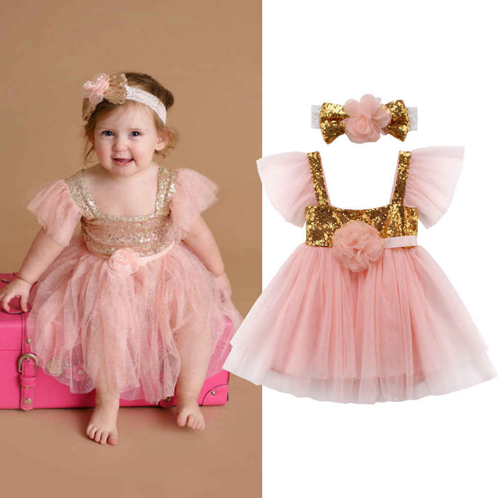 f608f798faf0 2018 Newborn Baby Girl Party Princess Pageant Tutu Tulle Mesh Pink Sequined  Dress Headband Cute Summer