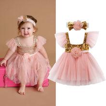 2018 Newborn Baby Girl Party Princess Pageant Tutu Tulle Mesh Pink Sequined Dress Headband Cute Summer Sundress