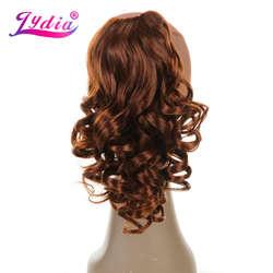 """Лидия 1 шт. наращивание волос 16 """"чистый цвет вьющиеся волны синтетические хвостики для прически коготь шиньоны природа хвост волос штук"""
