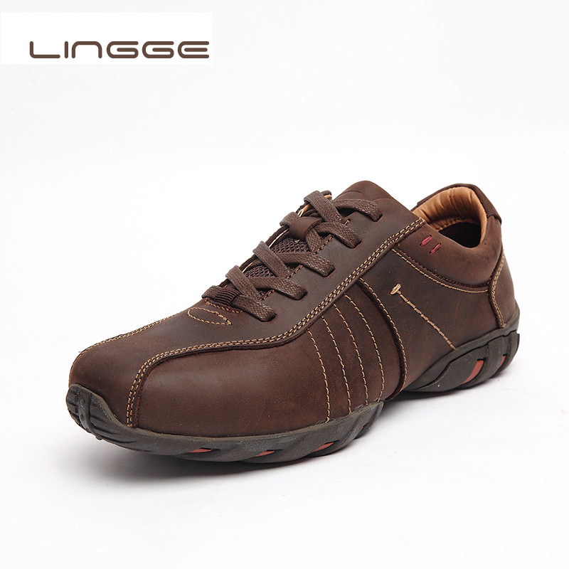 LINGGE Brand Full Grain Genuine Leather Men Casual Shoes Luxury Italian Style Handmade Leisure Fashion Sneakers