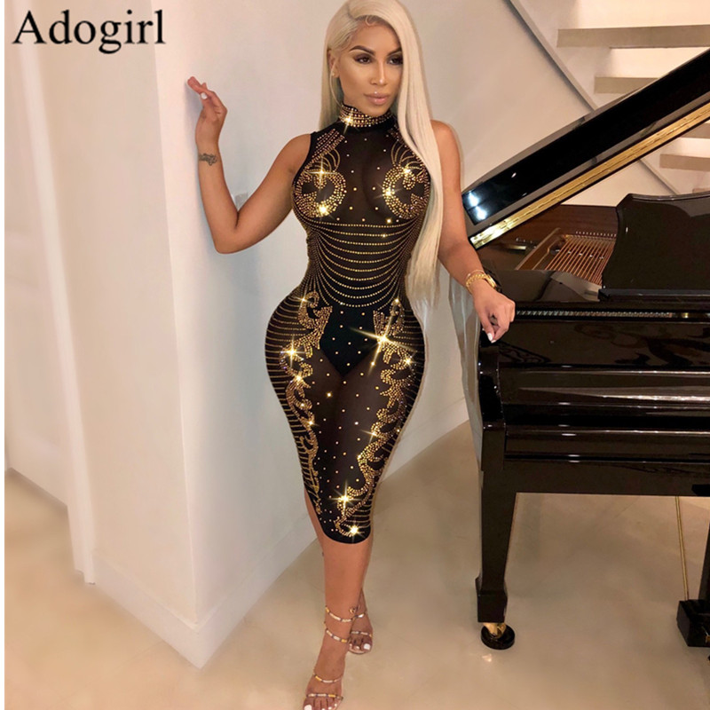 Sexy Diamond Mesh See Through Party Dress Women Turtleneck Perspective Shining Slim Pencil Dresses Sparkling luxury Nightclub