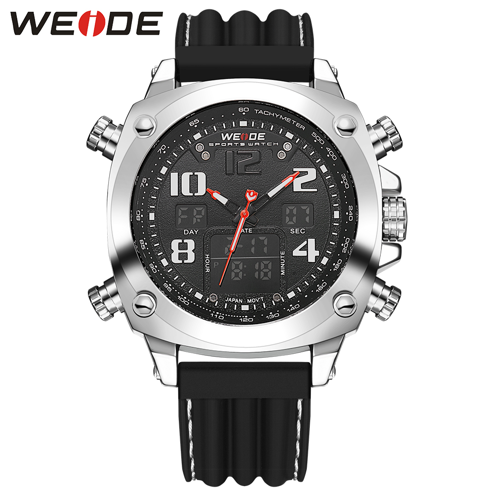 ФОТО New WEIDE Luxury Men's Watches Analog Digital Display LCD Digital Japan Quartz Movement 30m Waterproof Silicone Strap Wristwatch