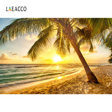Laeacco Summer Holiday Tropical Beach Sunrise Scenic Photography Backgrounds Custom Photographic Backdrops For Photo Studio