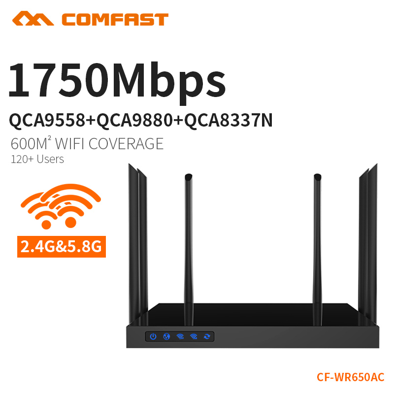 COMFAST 11AC 1750Mbps wifi amplifier wireless access point repeater Wifi signal repeater 5ghz wifi modem router CF-WR650AC 1750mbps 2 4g 5 8g dual band ac wifi router enginering ac manage1wan 4lan 802 11ac access point wi fi router comfast cf wr650ac