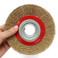 1Pcs 8 Inch 200mm Steel Flat Wire Wheel Brush with 10pcs Adaptor Rings For Bench Grinder Polish / metal polishing / grinding Brush     -