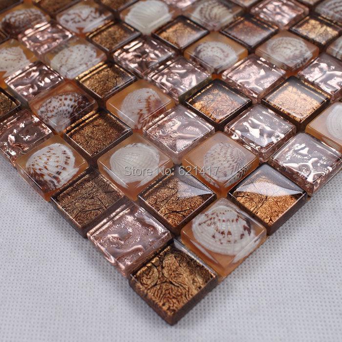Resin Glass Shell Mosaic Tiles Backsplash HMGM1074 Kitchen Wall Tile  Sticker Bathroom Floor Tiles Free Shipping