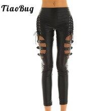 TiaoBug Kadın siyah suni deri Fishnet Splice Sıcak Seksi Pantolon İnce Sıkı Pantolon Punk Gotik Rave Gece Kulübü Parti Uzun Pantolon