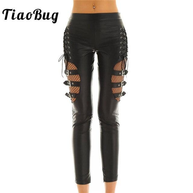 TiaoBug Women Black Faux Leather Fishnet Splice Hot Sexy Pants Slim Stretchy Trouser Punk Gothic Rave Nightclub Party Long Pants