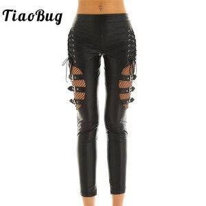 Image 1 - TiaoBug pantalon Faux cuir femme, noir, épissure de résille, Sexy, Slim, extensible, Punk, gothique, Rave, soirée en boîte de nuit