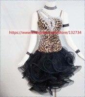 New Ballroom Dance Dress Samba Costume for Women Sexy Leopard Print Salsa Dresses Latin Dance Wear L 1502
