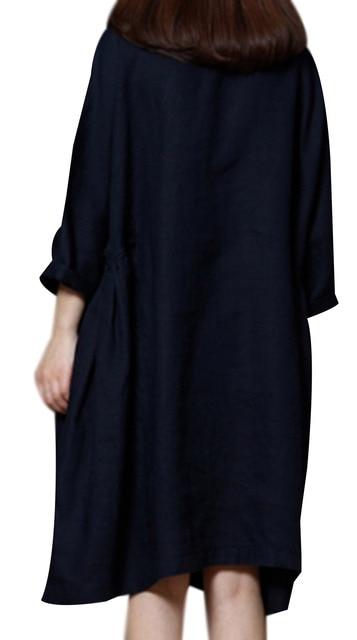 P Ammy Lagenlook Plus Size Linen&Cotton Fashion Short sleeve Dress 2