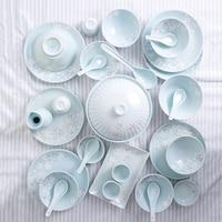 30 Pcs Japan Classical Ceramic Blue And Pink Kitchen Rice Bowl Big Ramen Soup Bowl Small Tea Cup Tableware Soup Bowl Set gift