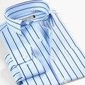 Smartfive pequeno colarinho da camisa dos homens men's clothing manga comprida magro negócios importado da listra azul camisa masculina camisas masculinas