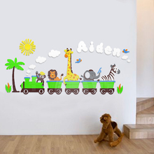 Cute childrens room animal small train waist line 3D acrylic wall stickers rail