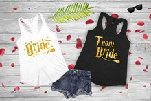 glitter gold sparkle Bride And Team Bride Tanks Tops wedding bridesmaind t shirts Bachelorette bridal hen party favors gifts(China)
