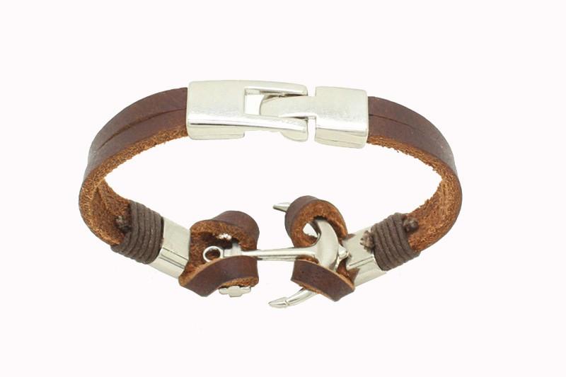 2016 Handmade Retro Leather Woven Anchor Charm Bracelet Men Vintage Braided Bracelets Bangles Male Jewelry