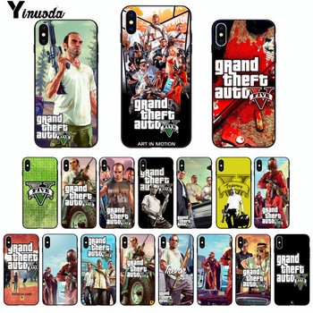 Yinuoda Gta 5 Grand Theft Auto V Black TPU Soft Rubber Phone Cover for iPhone 8 7 6 6S Plus 5 5S SE XR X XS MAX Coque Shell image
