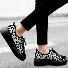 Vulcanized Shoes Women Lace up Trainers Cow Leather Wedges Platform High Heel Oxfords Walking Loafers Low Top Tennis