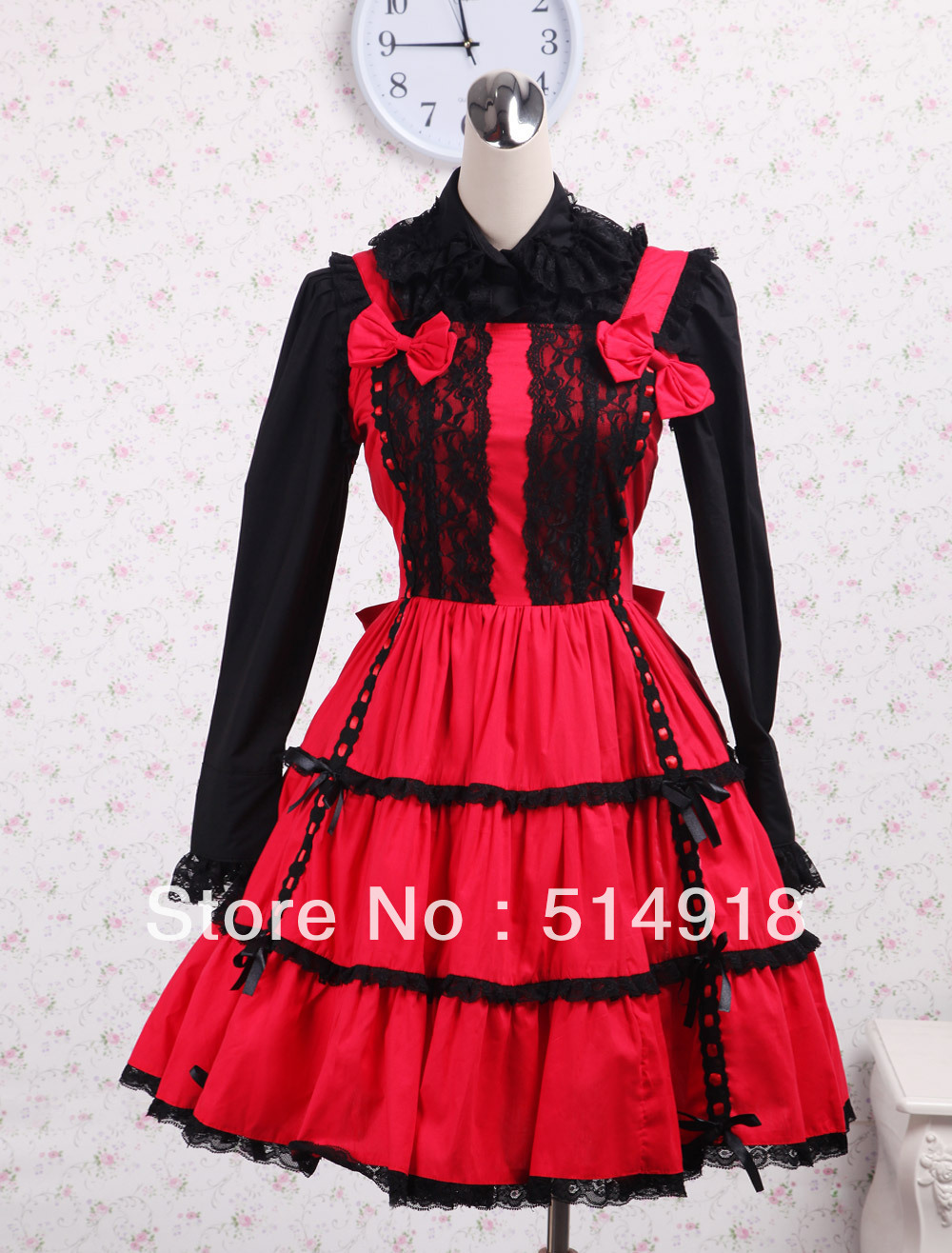 Black and Red Turndown Collar Long Sleeves Lace Civil War Southern ...