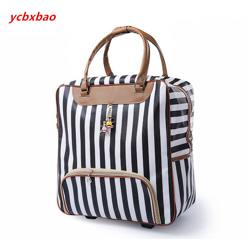 Image 5 - Women Trolley Luggage Rolling Suitcase Casual Stripes Rolling Case Travel Bag on Wheels Luggage Suitcase with Wheels-in Rolling Luggage from Luggage & Bags
