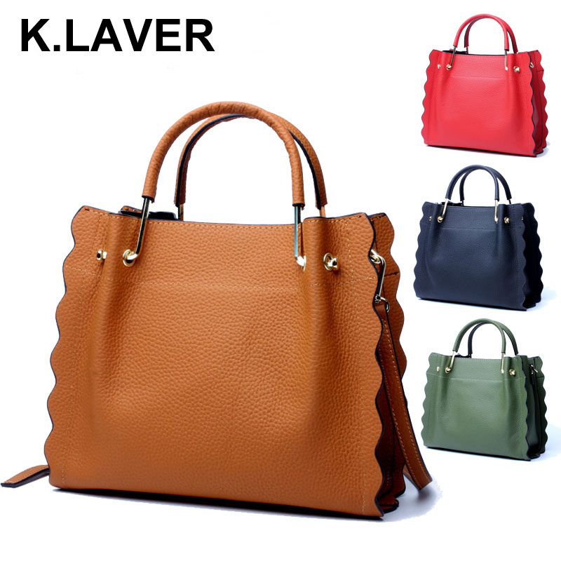 K.LAVER Women Casual Tote Genuine Leather Handbag Bag Fashion Vintage Large Shopping Bag Designer Crossbody Shoulder Bags Female