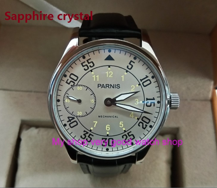 Sapphire Crystal 44mm PARNIS Milk white dial Asian 17 jewels 6497 3600 Mechanical Hand Wind movement