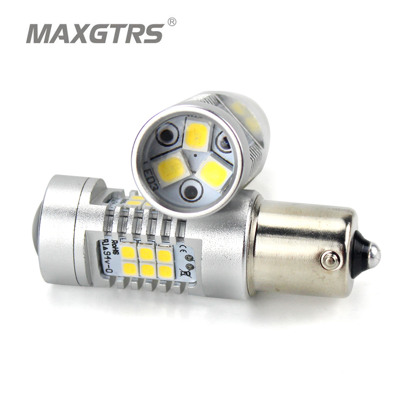 2x S25 1156 BAU15S PY21W Led 2835 Chips Car Turn Signal Bulb Brake Lights Auto Reverse Lamp Daytime Running Light White Amber 1 x t25 3157 50w led car auto signal brake stop tail light bulb signal lamp white external lights