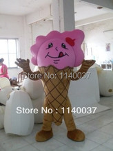 mascot Pink Icecream Mascot Costume Adult Size Sweet Dessert Food Ice Cream Mascotte Outfit Suit EMS FREE SHIPPING