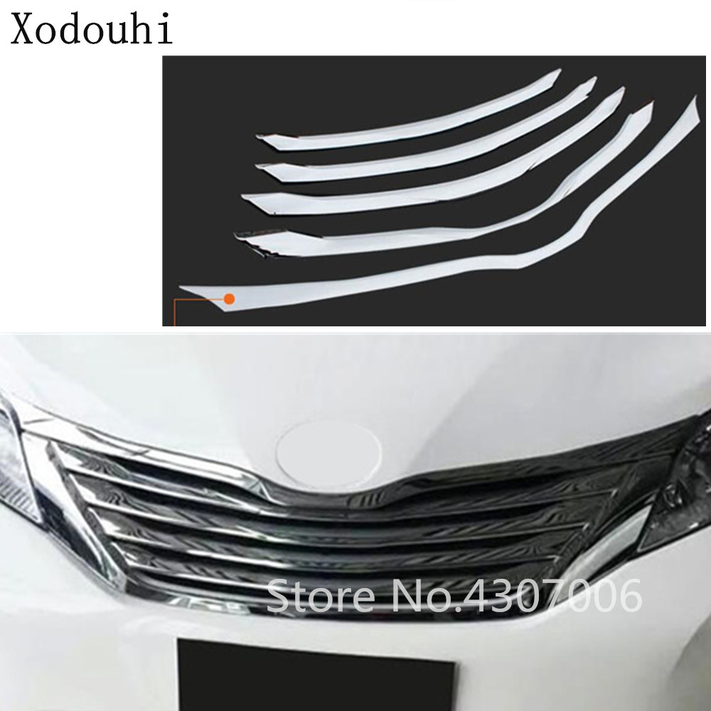 Car styling body cover protect detector ABS chrome trim Front up Grid Grill Grille 5pcs For Toyota Sienna 2015 2016 2017 2018