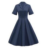 Plus Size 3XL Summer Vintage Dresses Short Sleeve Elegant Hepburn Style Ball Gown Prom Swing Party