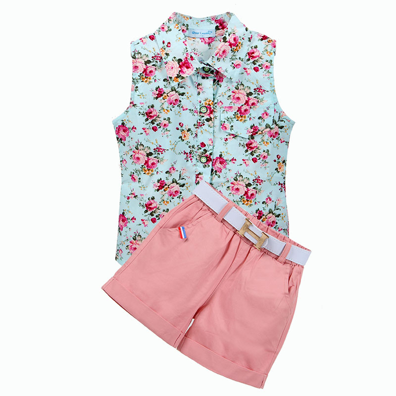 Kids Clothes 2018 Sleeveless Summer Style Baby Girls Shirt +Shorts + Belt 3pcs Suit Children Clothing Sets Fashion Style