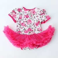 Birthday Gift Baby Lace Sets Rose Flower Newborn set Baby Girls Tutu Dress cute Outfits Clothes For Girl YH-17