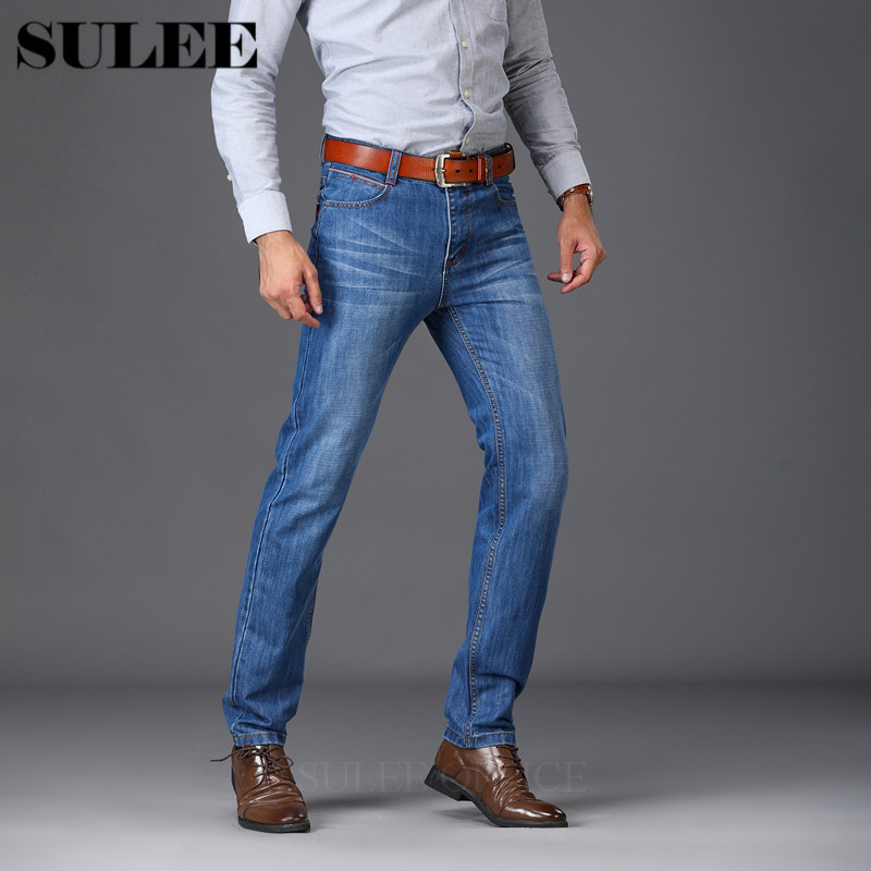 Mens Jeans Spring Autumn Business Casual Slim Straight Jeans Stretch Denim Pants Trousers Classic Cowboys Young Man Jean