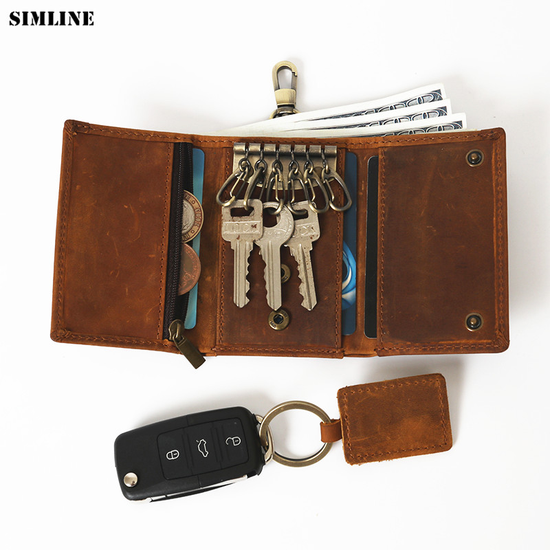 SIMLINE Genuine Leather Key Wallet Holder Men Male Small Wallets Car Key Holders Card Bag Case Coin Purse Housekeeper Organizer цены онлайн