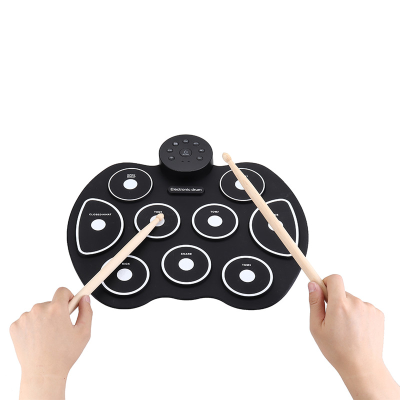 2019 G4002 9 Pads Digital Roll Up Drum Silicone Portable Electronic Drum Set Two Colors Available Foot Pedals Suitable Beginners