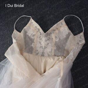 Image 5 - דוט טול חוף חתונת שמלת ספגטי פרל חרוזים רצועת כלה שמלה