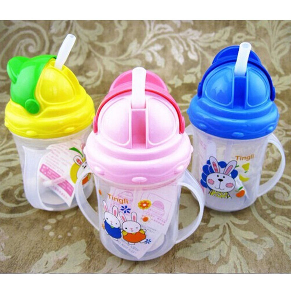 2017 New cute Diaper Children Drawing Bottle Drinking Straw With Handles Leak Proof Seal Water bottle Plastic