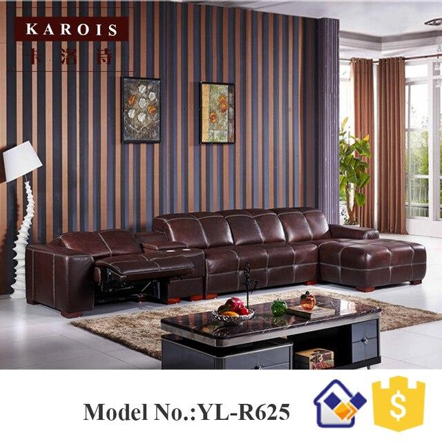 Cuero superior lujo eléctrico sofá reclinable, sofá de la Sala set ...