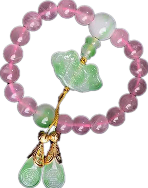 Natural Madagascar Pink Crystal Beaded Pendant Bracelet pink round neck beaded detail fahsion jumper