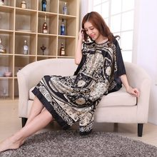 Women Fashion Clothing Lounge Rayon Nightgown Large Loose Bating Sleeve Sleepwear Robe Lady Sexy Home Dress New(China)