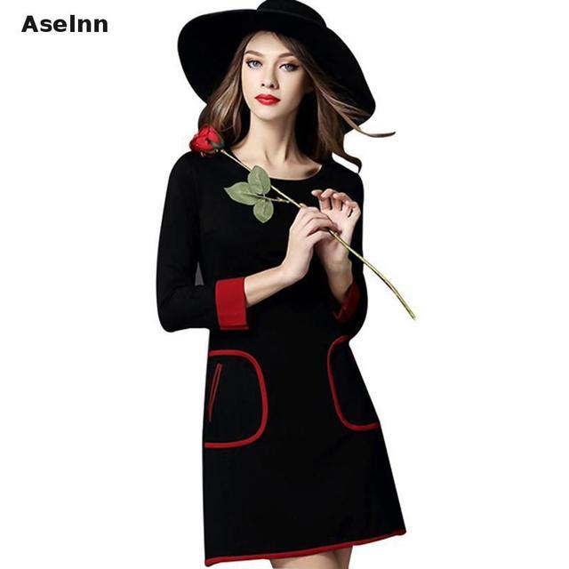 Womens sexy elegante outono manga comprida o pescoço magro cabido a-line skater dress ol desgaste ou partido