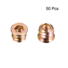 Uxcell 50pcs Carbon Steel Zinc Plated Threaded Insert Wood Furniture Interface Hex Socket Drive Nuts M6x10mm