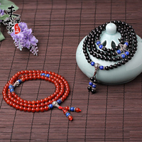 Red Black 108 Agate Sterling Silver Buddha Beads Hand Chains femme Friendship Gemstones for Women Pulseira masculina Men Jewelry