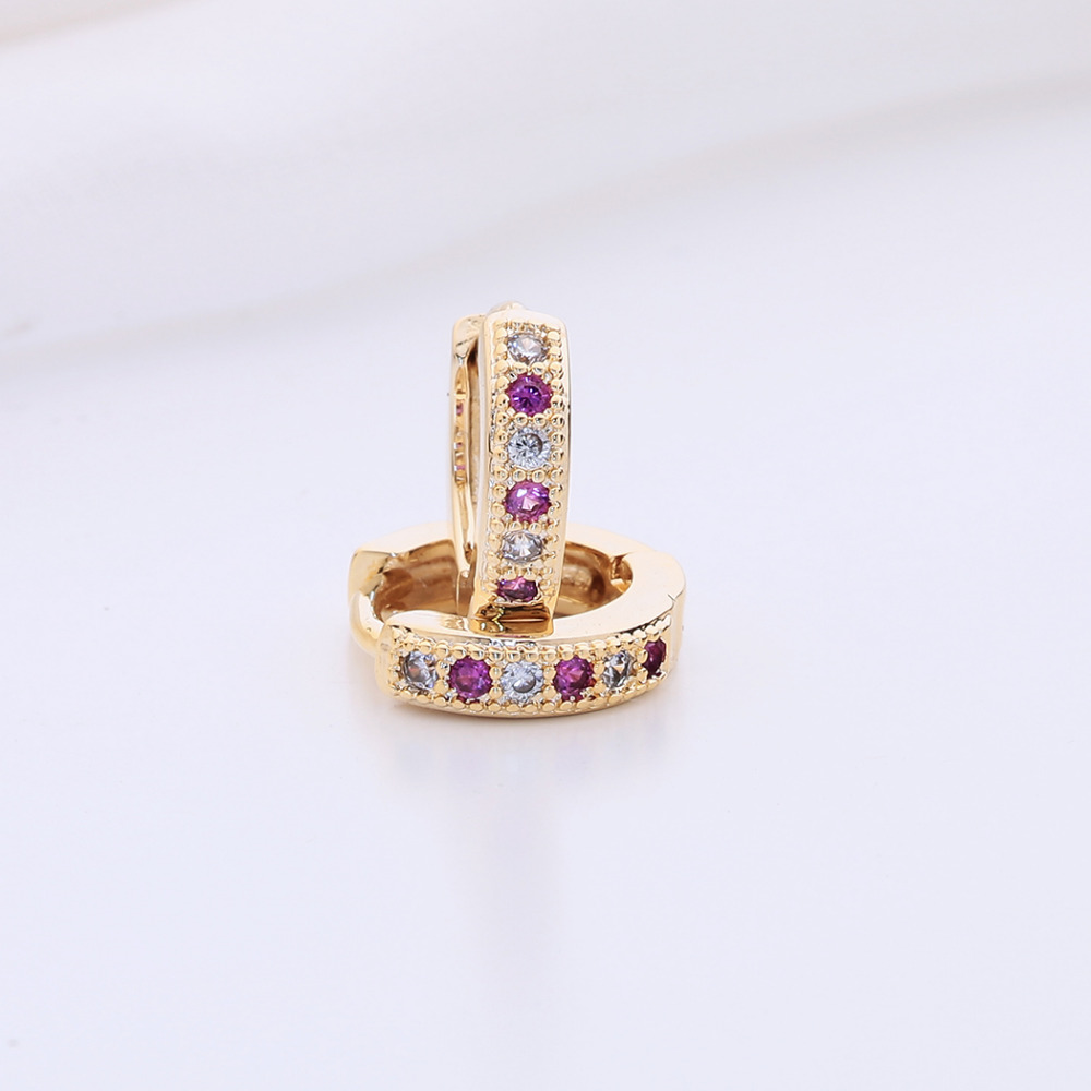 Kinitial New Hoop Earring Charm Colorful Classic Baby CC Earring Cubic Zirconia Earring For Baby Teen Girls Jewelry A1174 2
