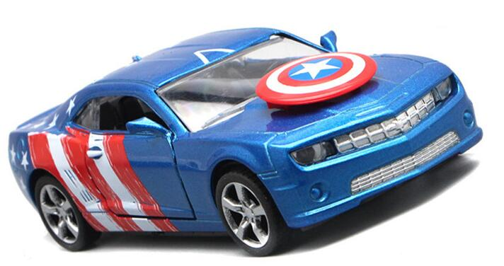 1pc 12.5cm cool Chevrolet Captain America sports car alloy model acousto-optic pull back game toy gift for boy