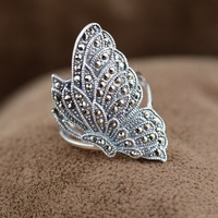 S925 Sterling Silver deer antique style women wholesale Marcasite Butterfly Ring