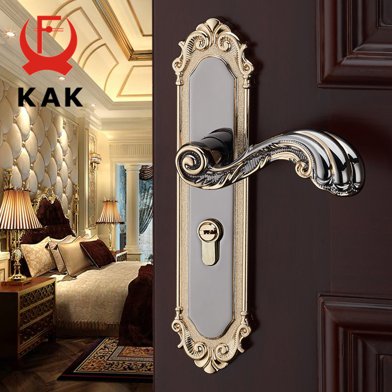 Kak European Style Mute Room Door Lock Handle Fashion Interior S Luxurious Anti Theft Gate Furniture Hardware
