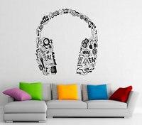 Music Series Headphones In Music Notes Tribal Pattern Special Vinyl Wall Sticker Home Bedroom Decor Vinyl