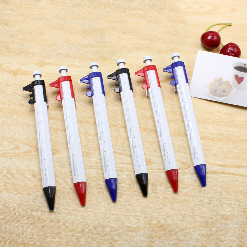 Multifunction Stationery Ballpen Cursor Caliper Scale Ruler Press Ballpoint Pen